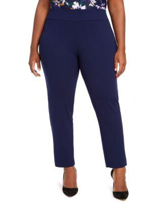 Plus Size Straight-Leg Pull-On Pants