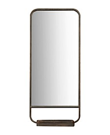 Rectangle Accent Mirror with Metal Frame Fold Down Tray