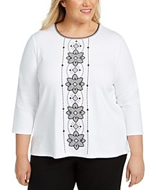 Plus Size Riverside Drive Medallion-Embroidered Top