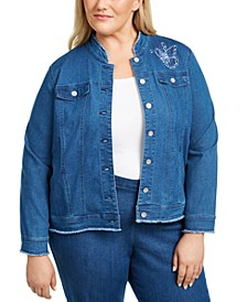 Plus Size  Pearls of Wisdom Embroidered Denim Jacket