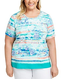 Plus Size Miami Beach Printed Lattice-Neck Top