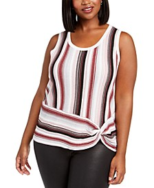 INC Plus Size Striped Side-Twist Sweater, Created For Macy's