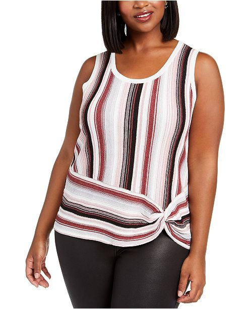 INC International Concepts INC Plus Size Striped Side-Twist Sweater, Created For Macy's