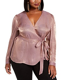 INC Plus Size Snake-Embossed Faux-Wrap Top, Created For Macy's