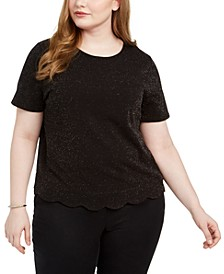 Trendy Plus Size Scalloped-Hem Shine Top