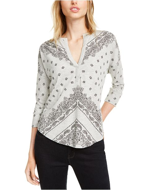 Lucky Brand Split-Neck Henley Top