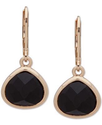 Gold-Tone Stone Drop Earrings
