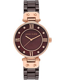 Women's Brown Ceramic Bracelet Watch 34mm