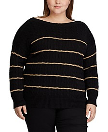 Plus Size Striped Cable-Knit Sweater