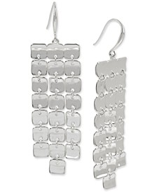 Silver-Tone Sculptural Square Fringe Statement Earrings