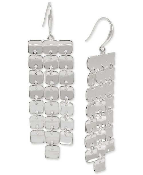 Robert Lee Morris Soho Silver-Tone Sculptural Square Fringe Statement Earrings