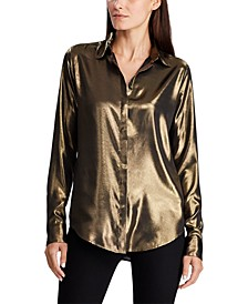 Petite Metallic Satin Shirt