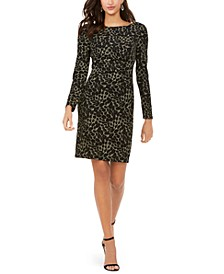 Glitter Animal-Print Sheath Dress
