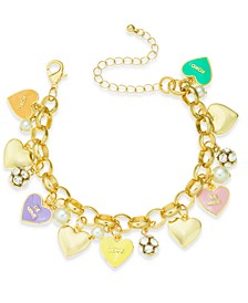 Gold-Tone Crystal & Imitation Pearl Sweetie Heart Charm Bracelet, Created for Macy's