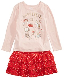 Little Girls Happiness T-Shirt & Printed Skirt, Created For Macy's