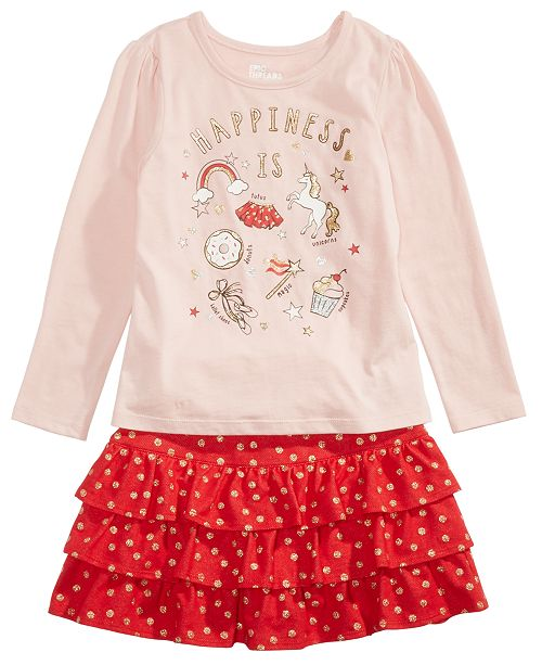 Epic Threads Little Girls Happiness T-Shirt & Tiered Skirt, Created For Macy's