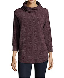 Petite Ribbed Knit Cowlneck Top
