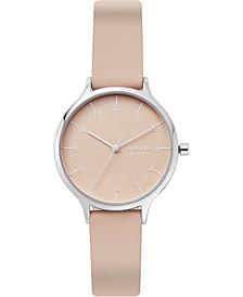 Women's Anita Pink Leather Strap Watch 34mm