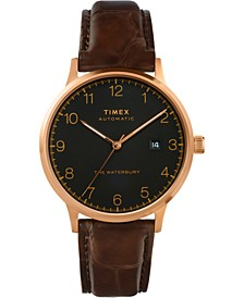 Men's Automatic Waterbury Brown Leather Strap Watch 40mm