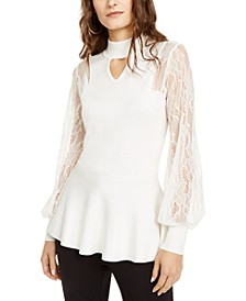 Lace-Sleeve Mock-Neck Top, Created For Macy's