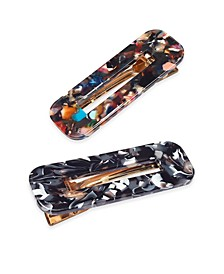 INC 2-Pc. Set Multi-Tone Rainbow Resin Open Hair Clips, Created For Macy's