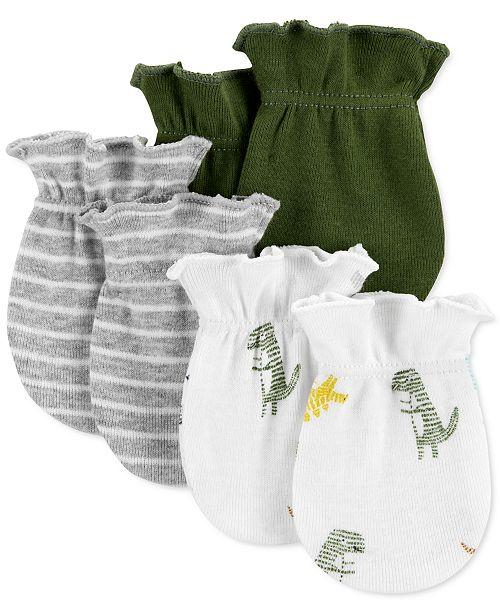 Carter's Baby Boys 3-Pk. Cotton Dinosaur Mitts