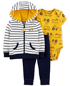 Baby Boys 3-Pc. Cotton Striped Hoodie, Construction-Print Bodysuit & Pants Set