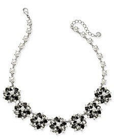 "Silver-Tone Crystal, Stone & Imitation Pearl Cluster Statement Necklace, 17"" + 2"" extender, Created For Macy's"