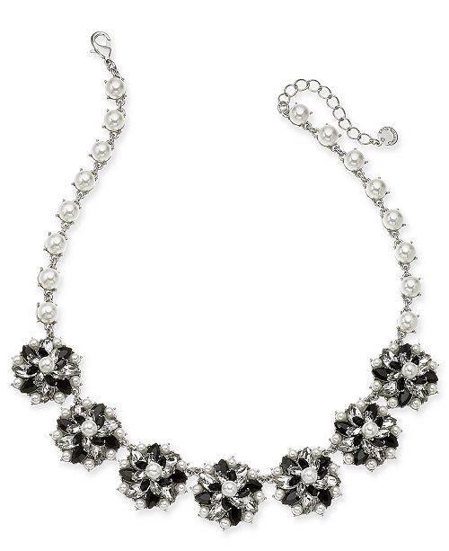 """Charter Club Silver-Tone Crystal, Stone & Imitation Pearl Cluster Statement Necklace, 17"""" + 2"""" extender, Created for Macy's"""