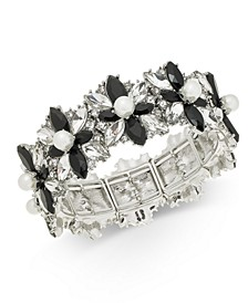 Silver-Tone Crystal, Stone & Imitation Pearl Cluster Stretch Bracelet, Created For Macy's