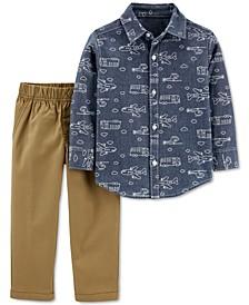 Baby Boys 2-Pc. Cotton Plane-Print Chambray Shirt & Pants Set