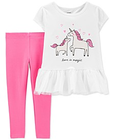 Baby Girls 2-Pc. Love Is Magic Tutu Top & Leggings Set