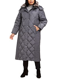 Plus Size Maxi Puffer Coat With Faux-Fur Trim