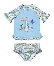 Baby Girls Scrapbook Print Rash Guard Two Piece Swimsuit