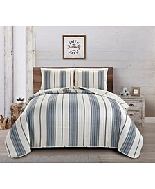 Great Bay Home Wesley Collection Striped 3-Piece Quilt Set, Full/Queen