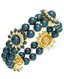 Gold-Tone Crystal & Imitation Pearl Burst Stretch Bracelet, Created For Macy's
