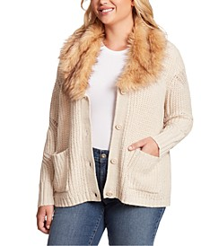 Trendy Plus Size Oaklyn Faux-Fur-Collar Cardigan