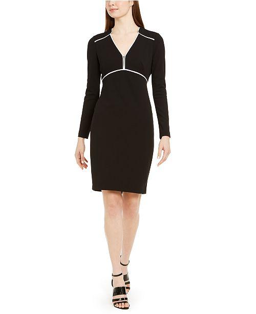 Calvin Klein Long-Sleeve Piped Sheath Dress