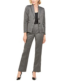 Herringbone-Print Pants Suit