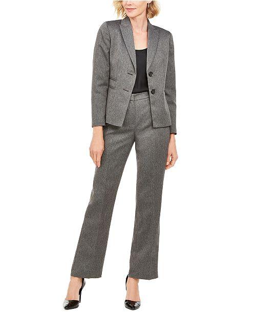 Le Suit Herringbone-Print Pants Suit