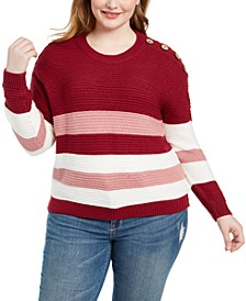 Trendy Plus Size Striped Button-Detail Sweater