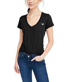 V-Neck Graphic Cotton T-Shirt