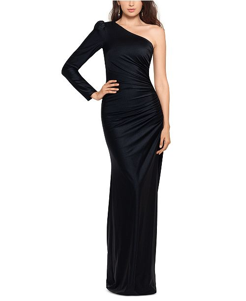 XSCAPE One-Shoulder Satin Gown