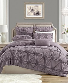 Charming Ruched Rosette Duvet Cover Set - Twin/Twin XL