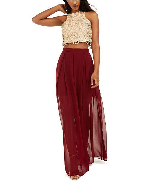 B Darlin Juniors' Halter Top & Chiffon Skirt