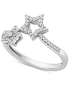Wrapped™ Diamond Star By-Pass Ring (1/6 ct. t.w.) in 14k White Gold, Created for Macy's