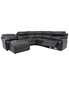 Hutchenson 5-Pc. Leather Chaise Sectional with 2 Power Recliners