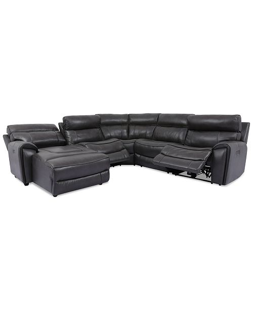 Furniture Hutchenson 5-Pc. Leather Chaise Sectional with 2 Power Recliners
