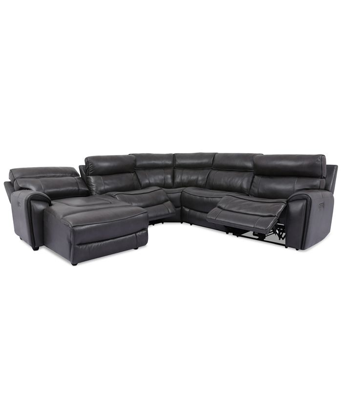 Furniture - Hutchenson 5-Pc. Leather Chaise Sectional with 2 Power Recliners