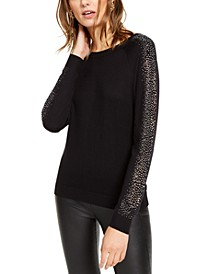 INC Embellished-Sleeve Sweater, Created For Macy's